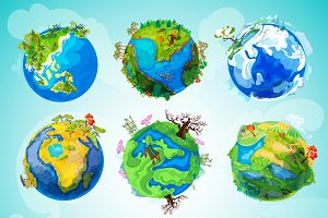 Colorful Earth Planet Collection
