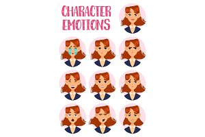 Woman or lady, girl faces with emotions