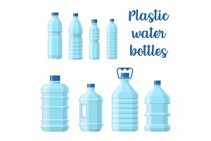 Bottle for water or plastic container for aqua