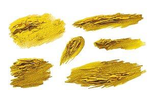Gold paint brush stroke