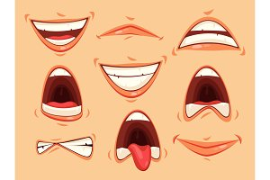 Mouth emotions of smiling and angry, scream