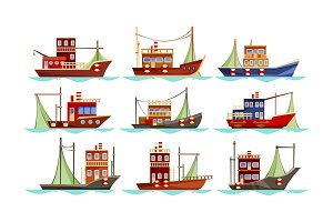 Set of isolated trawler or ship, boat for fishing