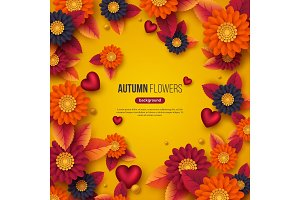 Floral autumn background with 3d paper cut style flowers, leaves and decorative hearts. Yellow, orange, purple colors, vector illustration.