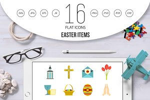 Easter items icons set in flat style
