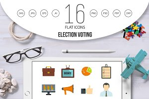 Election voting icons set in flat