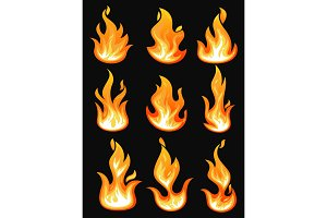 Icons with flame or burning fire, fireball