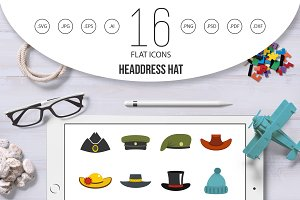 Headdress hat icons set in flat