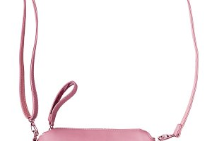Ladies pink pastel handbag with long strap. Isolate on white