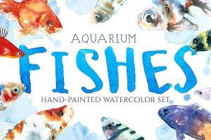 Aquarium Fishes Watercolor Clipart