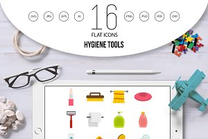 Hygiene tools icons set in flat