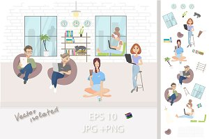 Coworking vector people set