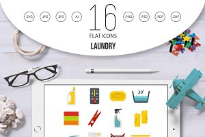 Laundry icons set in flat style