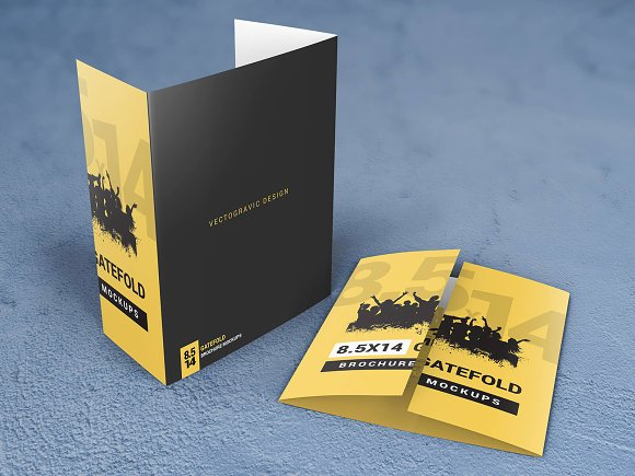 8 5×14 Gatefold Brochure Mockups