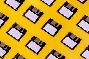 Floppy Data Storage Diskettes On Yel
