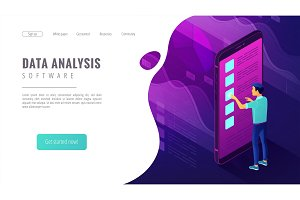 Isometric big data analysis landing page concept.