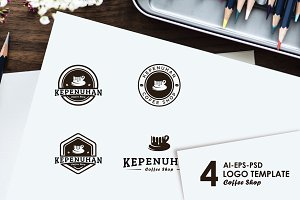 4 coffee logo template