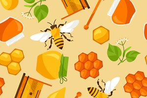 Seamless patterns with honey.