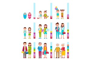 People and Scale with Years Vector Illustration