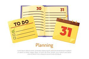 Planning List Copybook Poster Vector Illustration