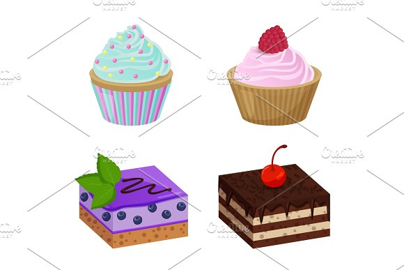Various Cakes with Cupcakes Vector Illustration in Illustrations