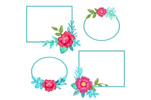 Squared Frames and Flowers Set Vector Illustration