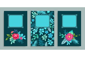 Set of Covers Floral Pattern Vector Illustration