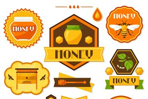 Set of honey labels and icons.