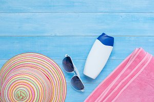 flat lay of summer beach accessories