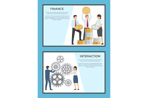 Finance and Interaction Collection of Banners