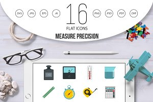 Measure precision icons set in flat
