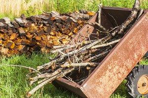 Rustic Wood Pile Cart