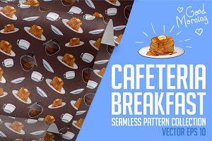 Cafeteria breakfast patterns set.