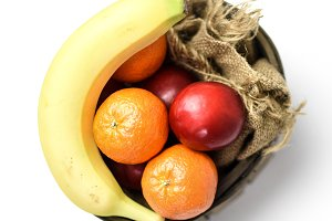 Fruit in a vintage basket basket wit