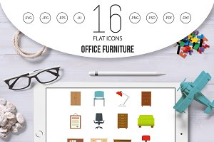 Office furniture icons set in flat