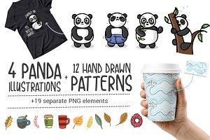 Panda + 12 Hand Drawn Patterns