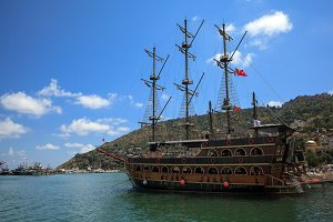 Alanya, Turkey - June 18, 2018: Pirate ships for tourist trips in the port