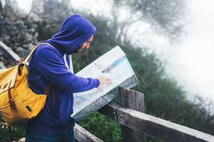 Traveler with map