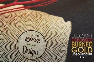 Debossed Burned Gold Logo Mockup