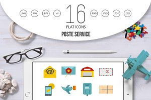 Poste service icons set in flat