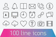 100 Thin line icons. Basic set
