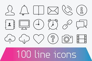 100 Thin line icons. Basic set