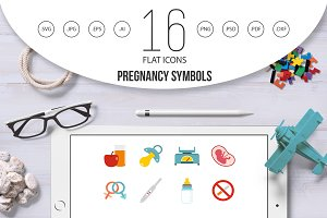 Pregnancy symbols icons set in flat
