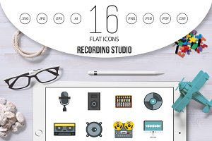 Recording studio items icons set