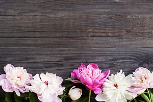 Wooden background with peony