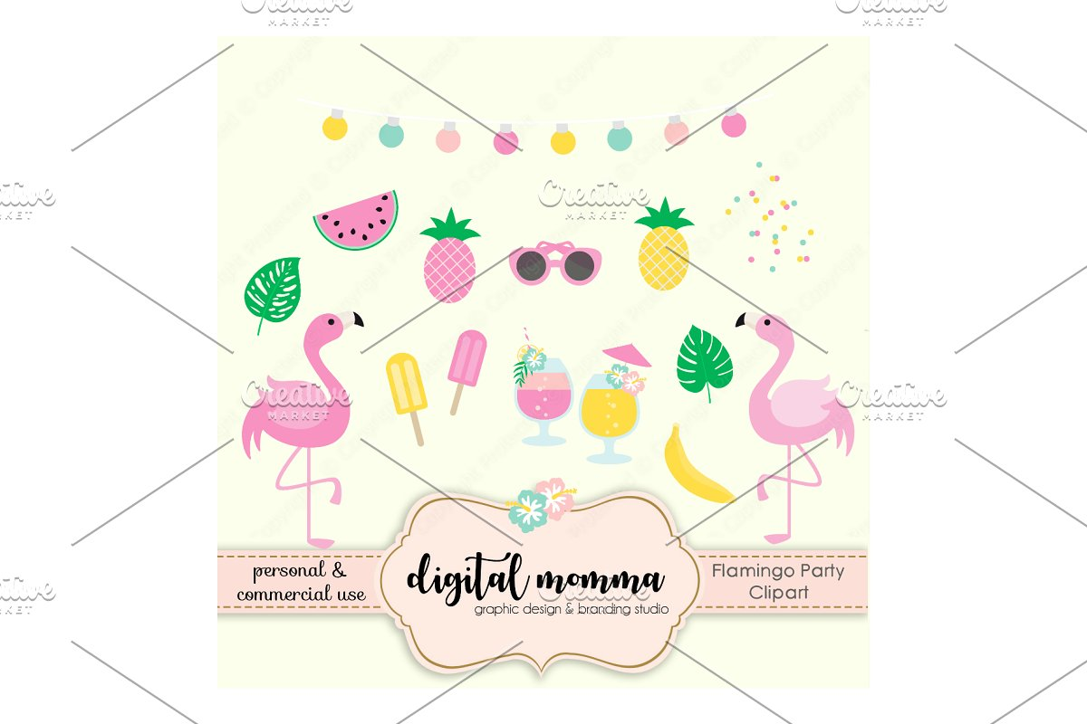 Flamingo party. Pink clipart