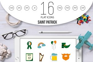 Saint Patrick icons set in flat