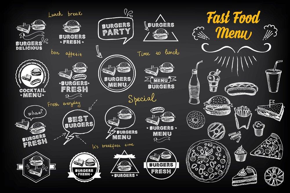 Fast Food Menu Doodles Icons Creative Market