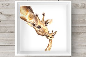 Watercolor Mother&Baby Giraffes