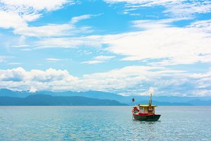 Colorful fishing boat in the sea