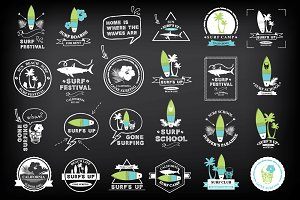Surfing summer icons